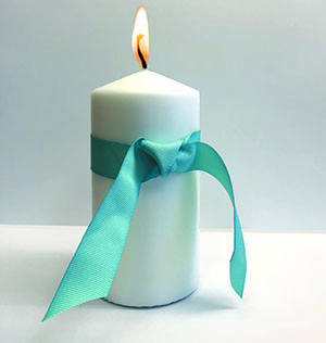 Candle Teal Ribbon