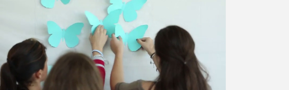 Patients, physicians and staff at Stony Brook University Cancer Center join together to create a video using the symbol of the teal butterfly